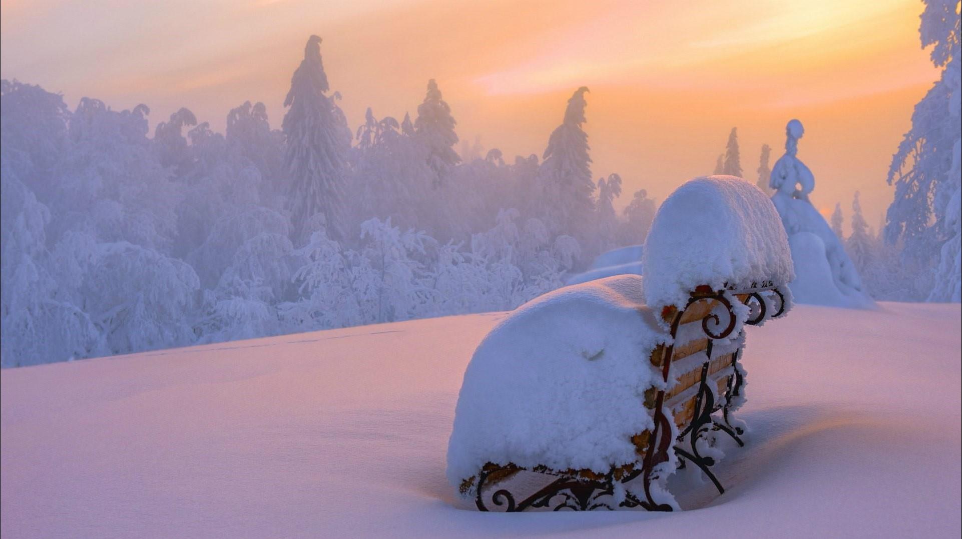 rising sun on snow