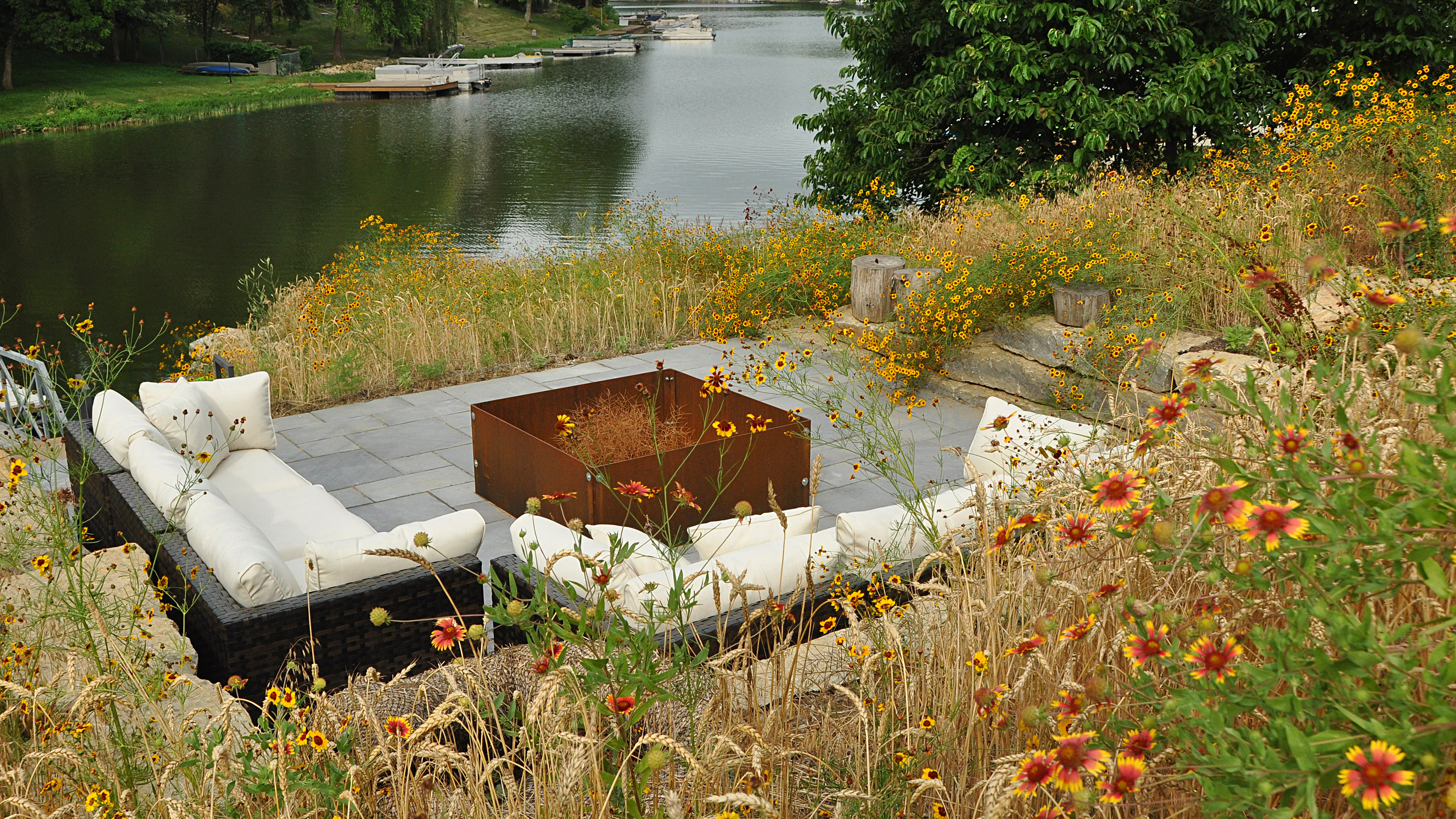 There are fire pit designs to fit any environment. Design by Dan Nelson. Installed by Embassy Landscape Group.