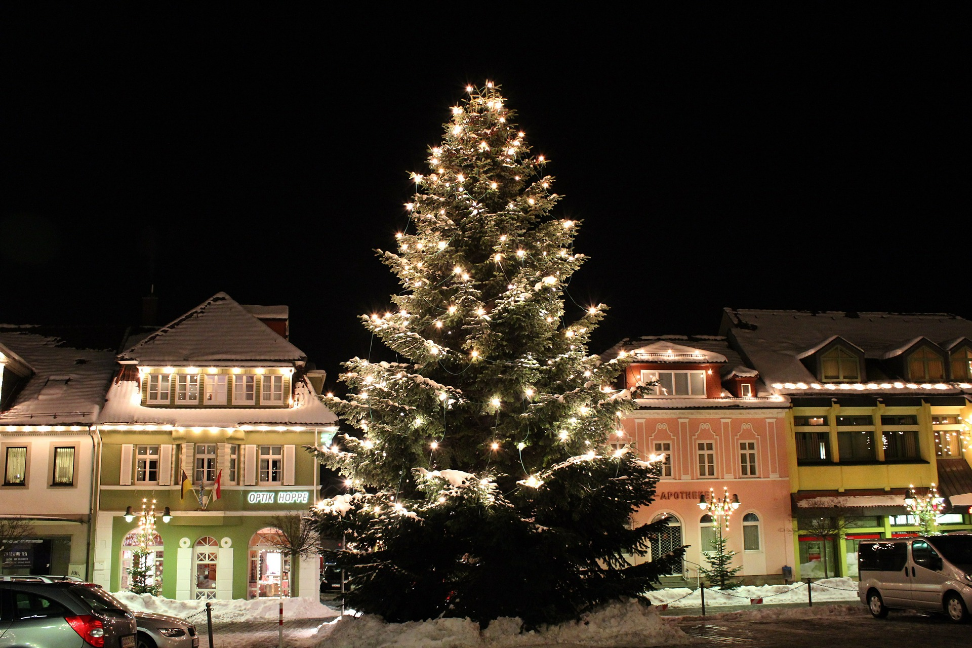A beautifully lit tree takes center stage.