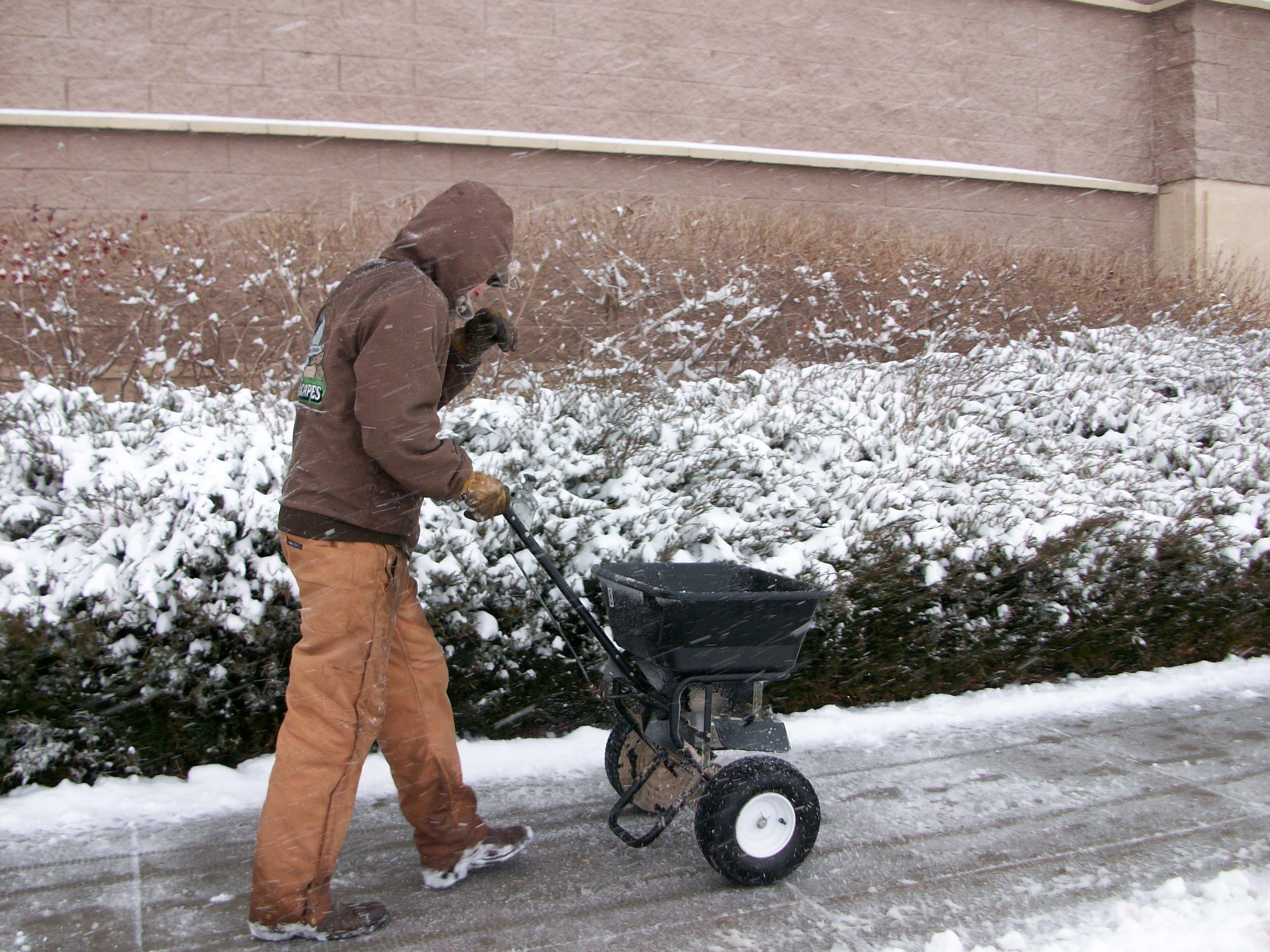 Embassy worker applies ice melt.