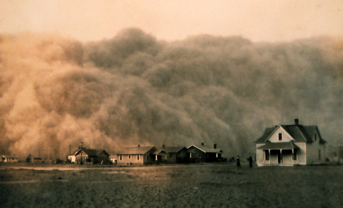 A 1935 dust storm in Texas.
